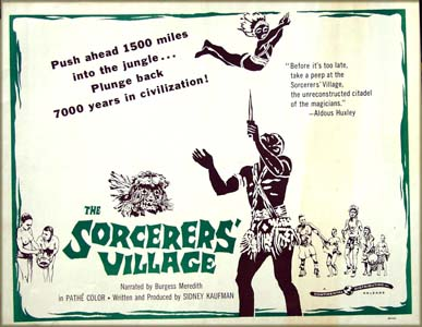 This is a picture of the half-sheet film poster for the 1958 doucmentary film <i>Sorcerer's Village</i> produced and written by Sidney Kaufman.