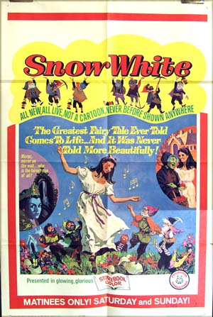Pictured is a 1965 matinee poster for the 1965 Childhood Productions film <i>Snow White</i>.
