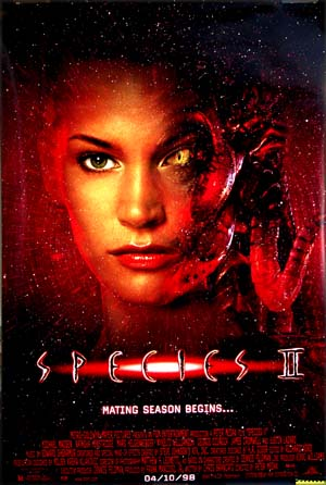 This is a promotional one-sheet for the 1998 film <i>Species II</i>; the posters has a large image of star Natasha Henstridge as a Martian with one cats eye and one human eye.