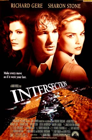 Pictured is a reprint of the US promotional poster for the 1994 Mark Rydell film Intersection starring Richard Gere.