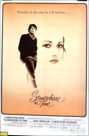 This is a picture of the out of print reprint of the US one-sheet for the 1980 Jeannot Szwarc film <i>Somewhere in Time<i> starring Christopher Reeve and Jane Seymour