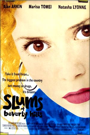 Pictured is the 1998 US one-sheet poster for the Tamara Jenkins Film <i>The Slums of Beverly Hills</i> starring Alan Arkin and Marisa Tomei.