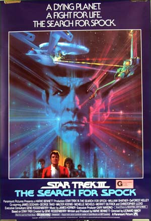 This image shows the face of Leonard Nimoy as Spock at the center of a dramatic space travel design on the Australian one-sheet film poster for the 1984 film <i>Star Trek III:  The Search for Spock</i>.