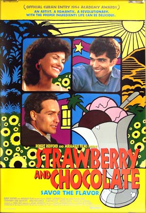 The image shows the US one-sheet film poster for the 1995 Cuban film <i>Strawberry and Chocolate</i> starring Jorge Perugorria, with the tagline 'savor the flavor'.