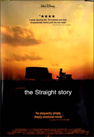 This image shows the US one-sheet film poster for the 1999 David Lynch film <i>The Straight Story</i>, showing a silhouette of a man driving a tractor against the backgroud of a yellow and orange sunset.