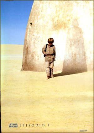 The is a picture of the Spanish advance one-sheet film poster for the 1999 George Lucas film <i>Star Wars Episode I: The Phantom Menace</i>, starring Liam Neeson.  The English and Spanish versions of this poster are identical except for a single title word.  That word is 'Episodio