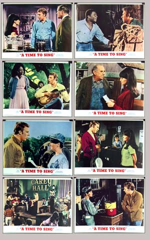 Pictured is the US promotional 8-card lobby card set for the 1968 Arthur Dreifuss film <i>A Time to Sing</i> starring Hank Williams Jr. and Shelley Fabares.