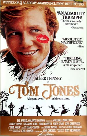 This is a picture of the US one-sheet review poster for the 1989 rerelease of the 1963 Tony Richardson film <i>Tom Jones</i> starring Albert Finney and Susannah York.