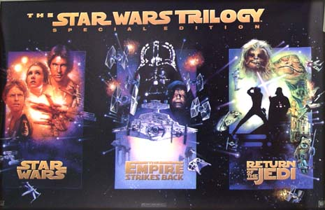 The illustration shows an US promotional miniature poster with three miniature poster images representing the three films featured in the Star Wars Special Edition of 1996.