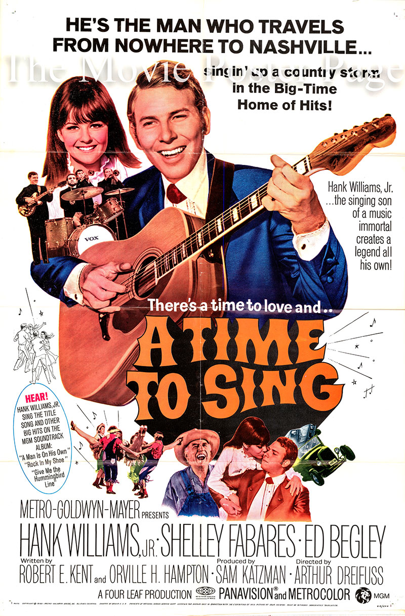 Pictured is the US promotional one-sheet poster for the 1968 Arthur Dreifuss film <i>A Time to Sing</i> starring Hank Williams Jr. and Shelley Fabares.