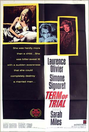The image shows the US promotional one-sheet poster for the 1962 Peter Glenville film <i>Term of Trial</i> starring Laurence Olivier.