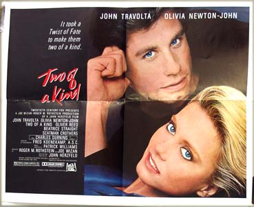 Pictured is the US promotional half-sheet poster for the 1983 John Herzfeld film <i>Two of a Kind</i> starring John Travolta and Olivia Newton-John.