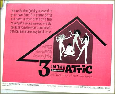 This image shows the US promotional half-sheet poster for the 1968 Richard Wilson film <i>Three in the Attic</i> starring Christopher Jones.