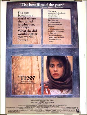 The image shows the US 30x40 promotional poster for the 1981 Roman Polanski film <i>Tess</i> starring Nastassja Kinski.