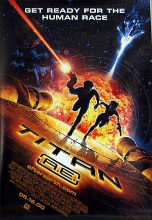 This illustration shows the promotional poster for the 2000 Don Bluth animated film <i>Titan A.E.</i> starring Matt Damon.