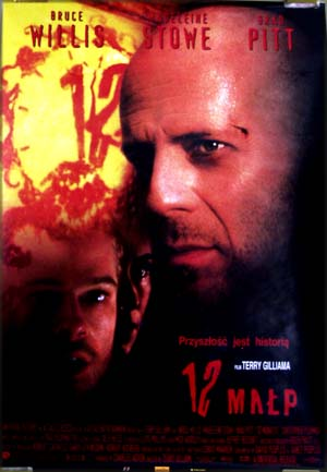 This is a photograph of the Polish promotional poster for the 1996 film <i>12 Monkeys</i> starring Brad Pitt and Bruce Willis.