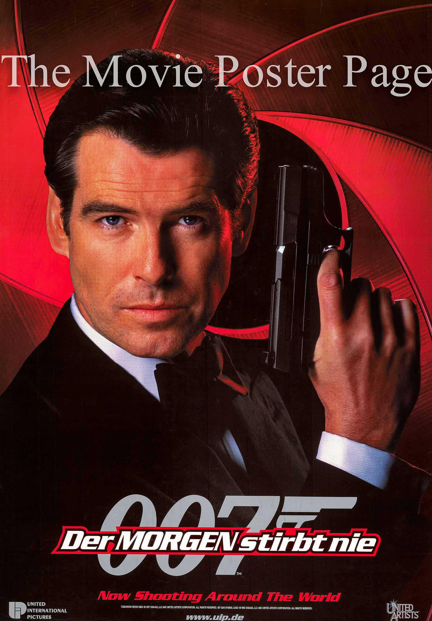 This image shows the German promotional poster for the 1997 James Bond film <i>Tomorrow Never Dies</i> starring Pierce Brosnan</i>.
