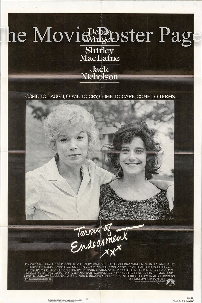 This is a picture of the US one-sheet promotional poster for the 1983 James L. Brooks film <i>Terms of Endearment</i> starring Shirley MacLaine, Debra Winger and Jack Nicholson.
