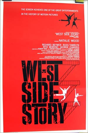 This image shows a reprint of the US promotional one-sheet poster for the 1961 Jerome Robbins and Robert Wise film <i>West Side Story</i> starring Natalie Wood and Richard Beymer.