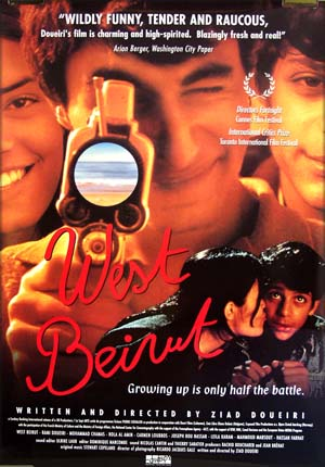 Pictured is the US one-sheet promotional poster for the 1998 Ziad Doueiri film <i>West Beirut</i> starring Ram Doueiri.