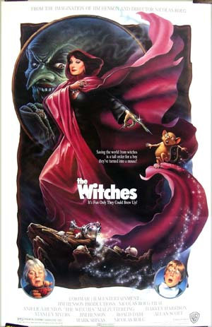 Pictured is the US one-sheet promotional poster for the 1990 Nicolas Roeg film <i>Witches</i> starring Anjelica Huston.