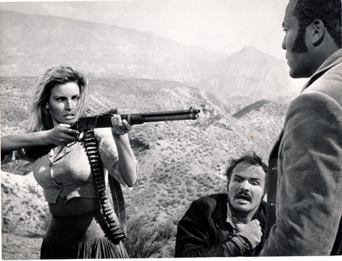 Pictured is a US promotional still photo from the 1969 Tom Gries film 100 Rifles starring Raquel Welch.