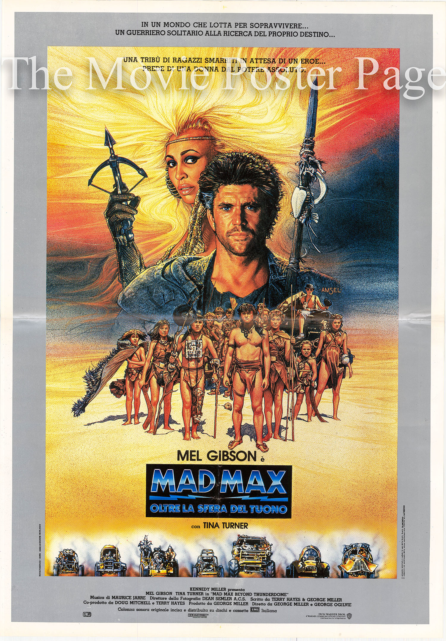 Pictured is an Italian one-sheet poster for the 1986 George Miller and George Ogilvie film Mad Max Beyond Thunderdome starring Mel Gibson.