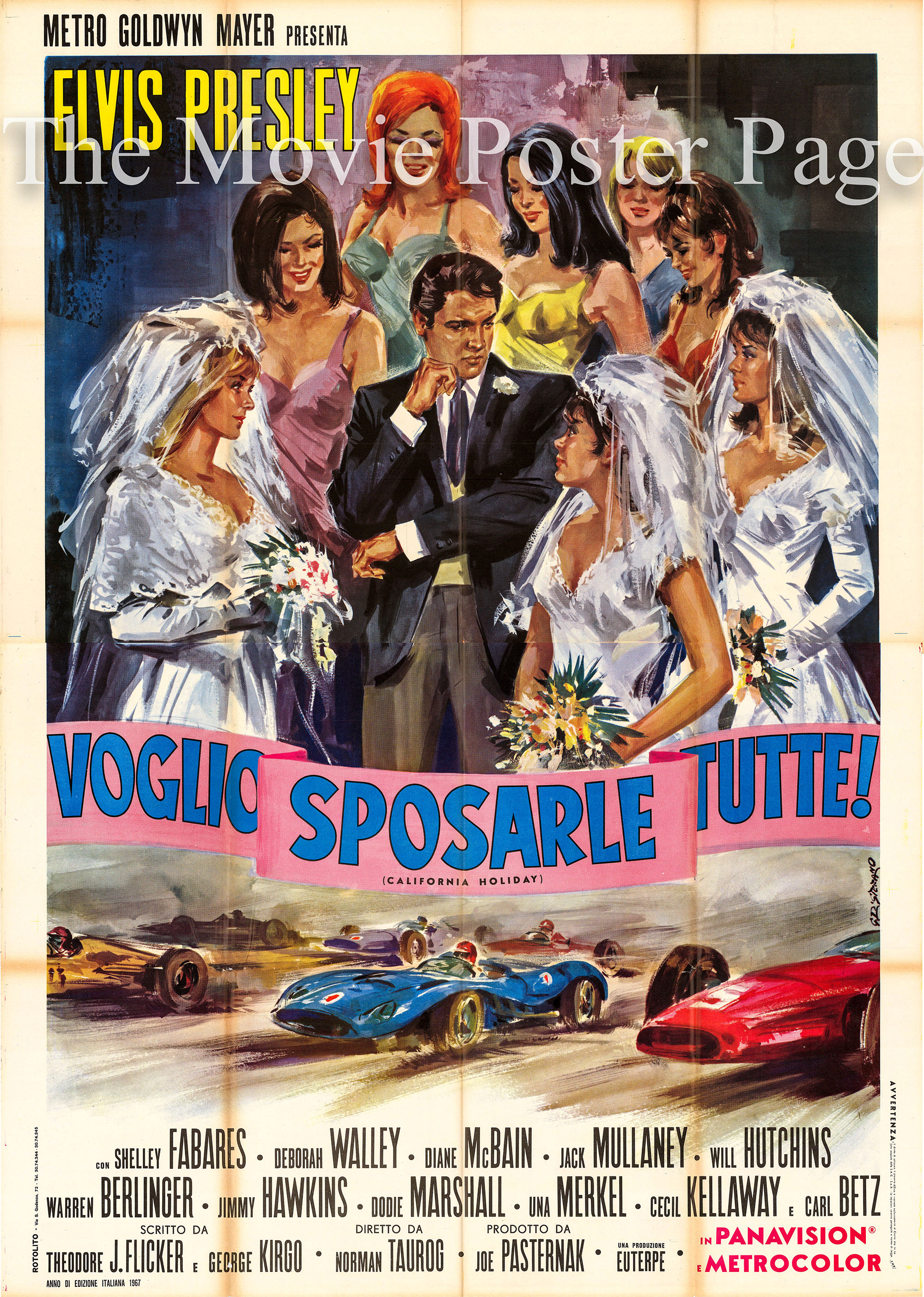 This is a picture of a 55x77 Italian promotional four-sheet poster for the 1966 Norman Taurog film <i>Spinout</i> starring Elvis Presley.