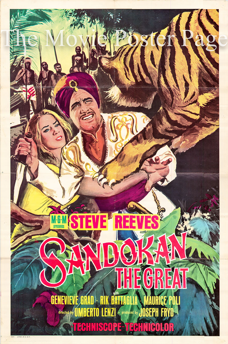 Pictured is the US one-sheet promotional poster for the 1963 Umberto Lenzi film <i>Sandokan the great</i> starring Steve Reeves.