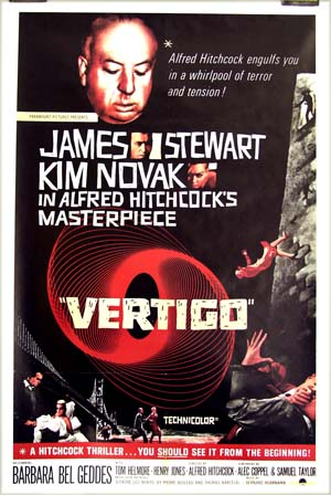 Pictured is a reprint of the US promotional one-sheet poster for the 1958 Alfred Hitchcock film <i>Vertigo</i>.