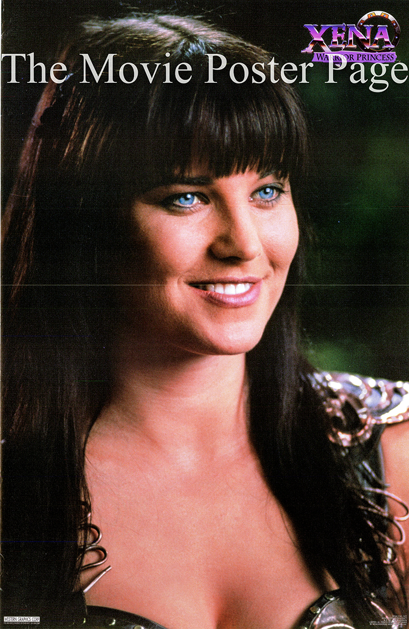 The picture shows a close-up portrait of Lucy Lawless in costume in her role as Xena in the TV series <i>Xena: Warrior Princess</i>.