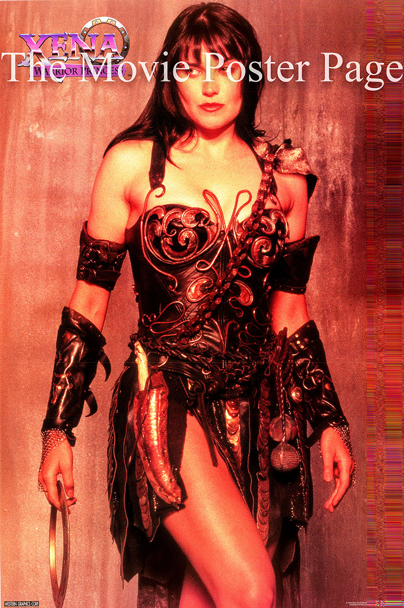 The picture shows Lucy Lawless in costume in her role as Xena in the TV series <i>Xena: Warrior Princess</i>.