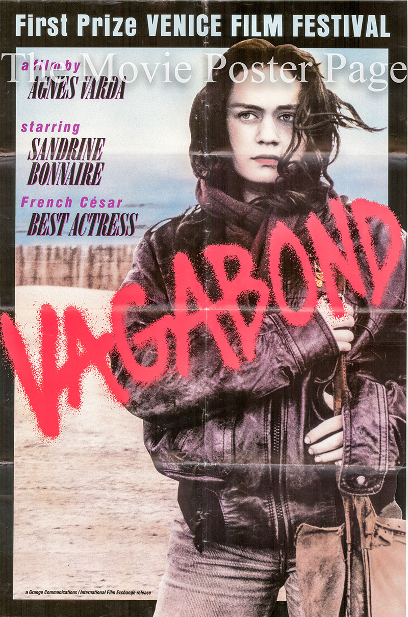 Pictured is a US one-sheet poster for the 1985 Agnes Varda film Vagabond, starring Sandrine Bonnaire