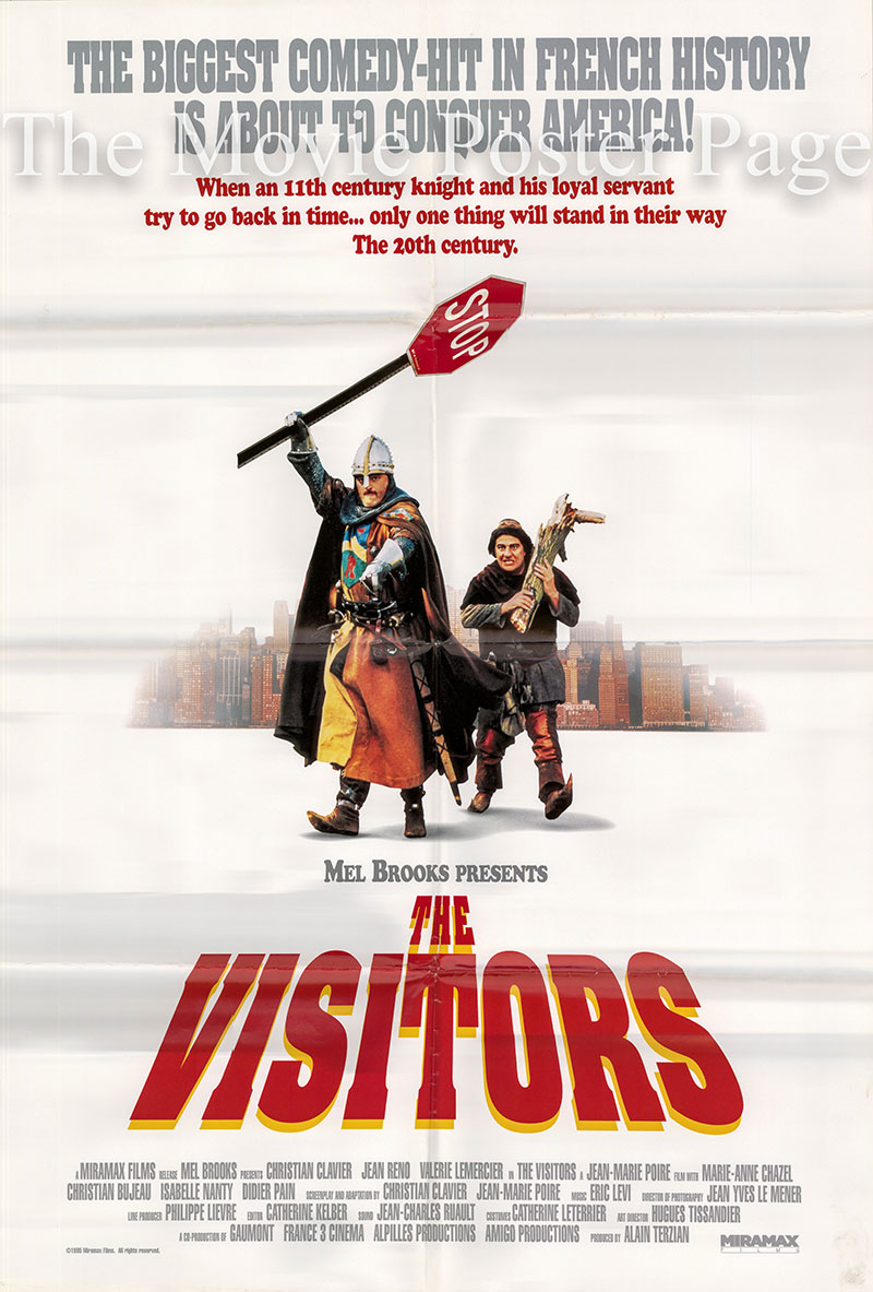 The image shows a US one-sheet promotional poster for the 1993 Jean-Marie Poire film The Visitors, starring Christian Clavier.