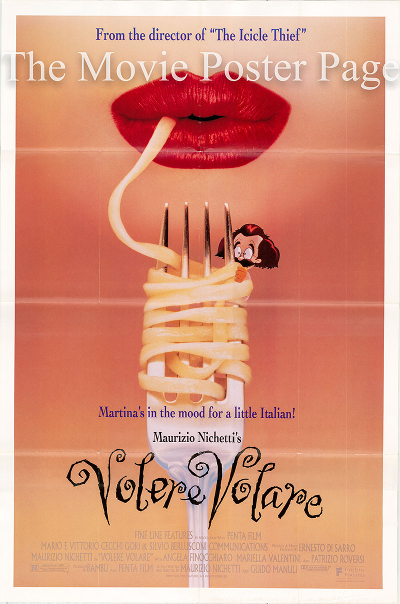 The image shows a US one-sheet promotional poster for the 1991 Guido Manuli film Volere Volare, starring Maurizio Nichetti.