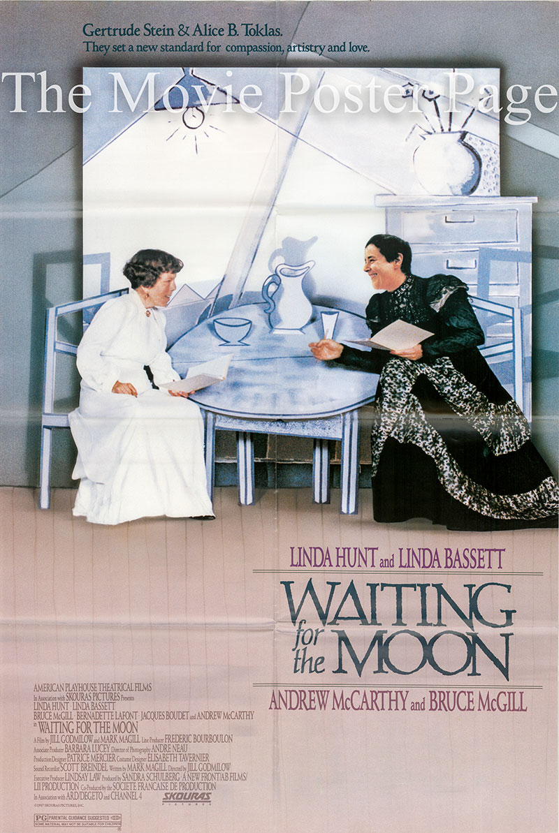 Pictured are Linda Bassett and Linda Hunt on the US promotional poster for the 1987 Jill Godmilow film Waiting for the Moon, in their roles as Alice B. Toklas and Gertrude Stein.