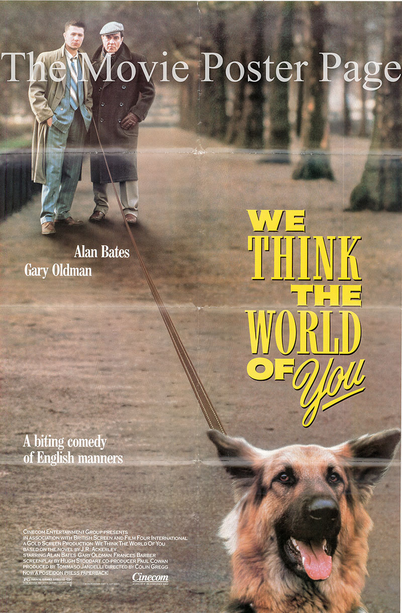This image shows a US one-sheet promotional poster for the 1988 Colin Gregg film We Think the World of You, starring Alan Bates and Gary Oldman