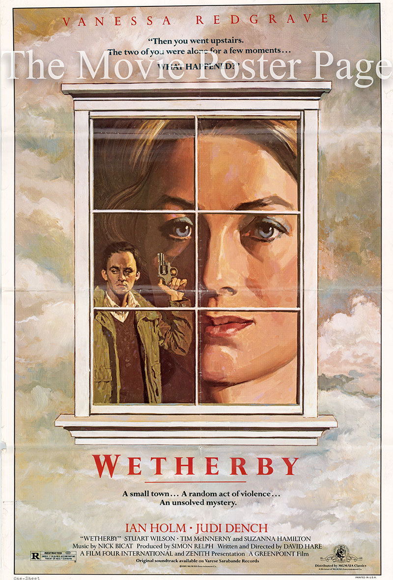 The image shows a US promotional one-sheet poster for the 1985 David Hare film Wetherby, starring Vanessa Redgrave.