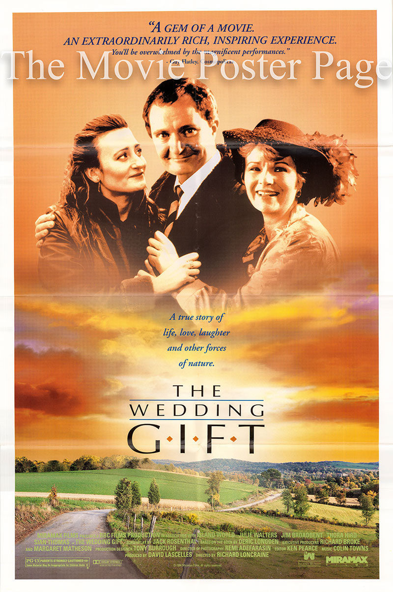 Pictured is a US one-sheet promotional poster for the 1993 Richard Loncraine TV production The Wedding Gift, starring Julie Walters.