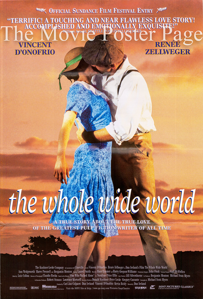 Pictured is a US one-sheet promotional poster for the 1996 Dan Ireland film The Whole Wide World starring Vincent Donofrio and Renee Zellweger.