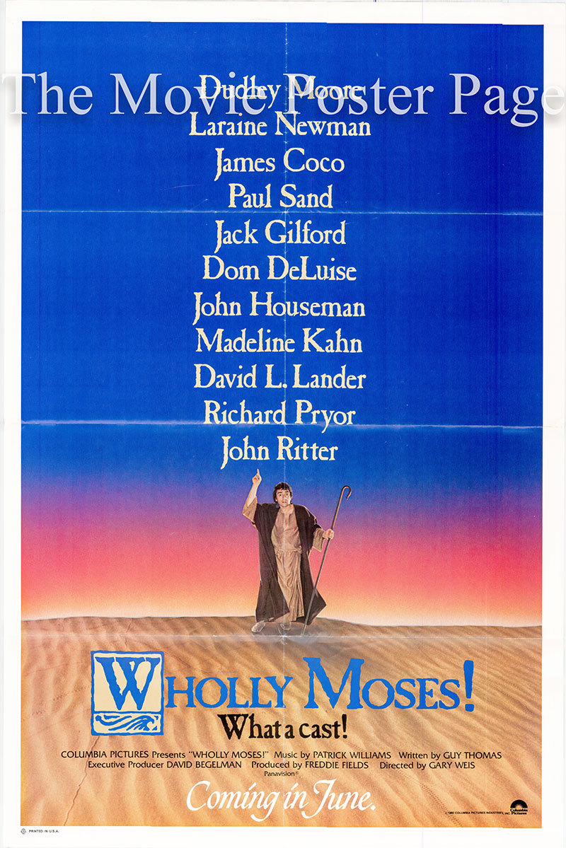 Pictured is an advance US promotional one-sheet poster for the 1980 Gary Weis film Wholly Moses, starring Dudley Moore.