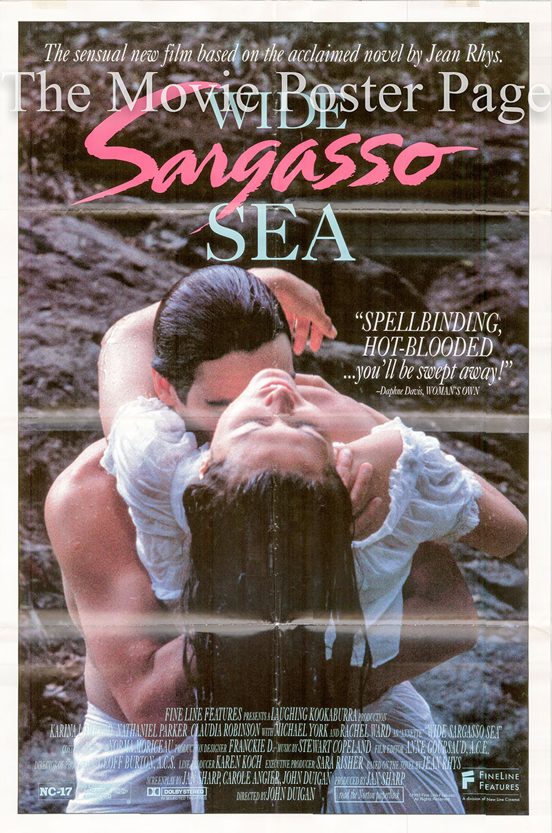 This image shows a uS promotional one-sheet poster for the 1993 John Duigan film Wide Sargasso Sea, starring Karina Lombard, based on a novel by Carole Angier.