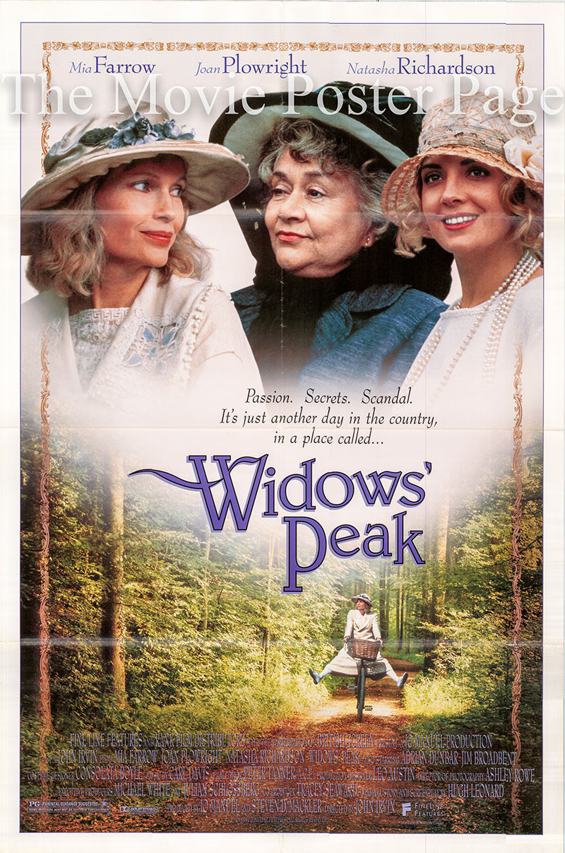 The image shows a US one-sheet promotional poster for the 1994 John Irvin film Widows' Peak, starring Mia Farrow.