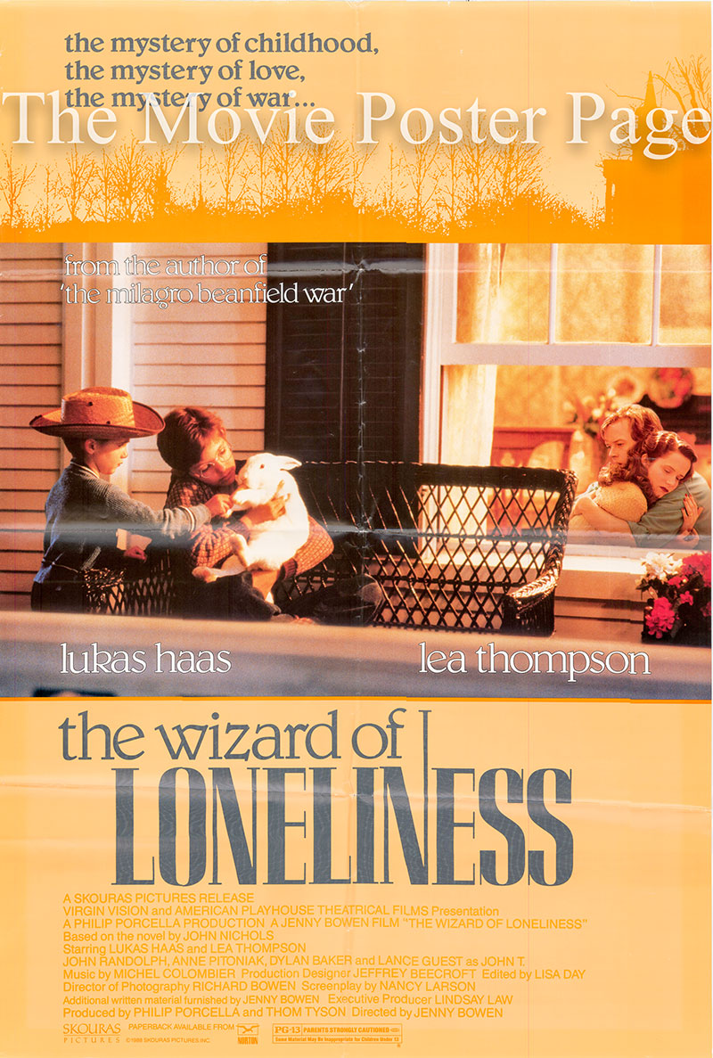 This is an image of a US promotional one-sheet poster for the 1988 H. Anne Riley film The Wizard of Lonelines, starring Lucas Haas.
