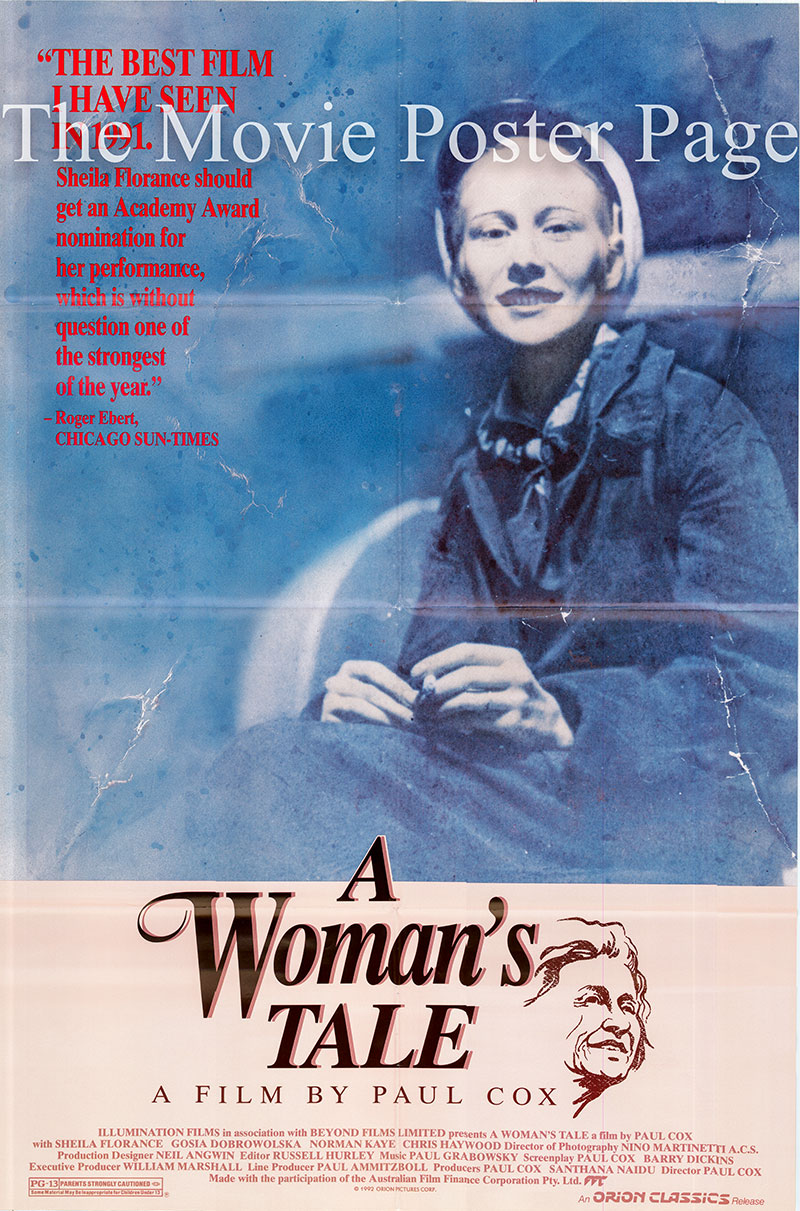 The image shows a US promotional one-sheet poster for the 1991 Paul Cox film A Woman's Tale, starring Sheila Florance.