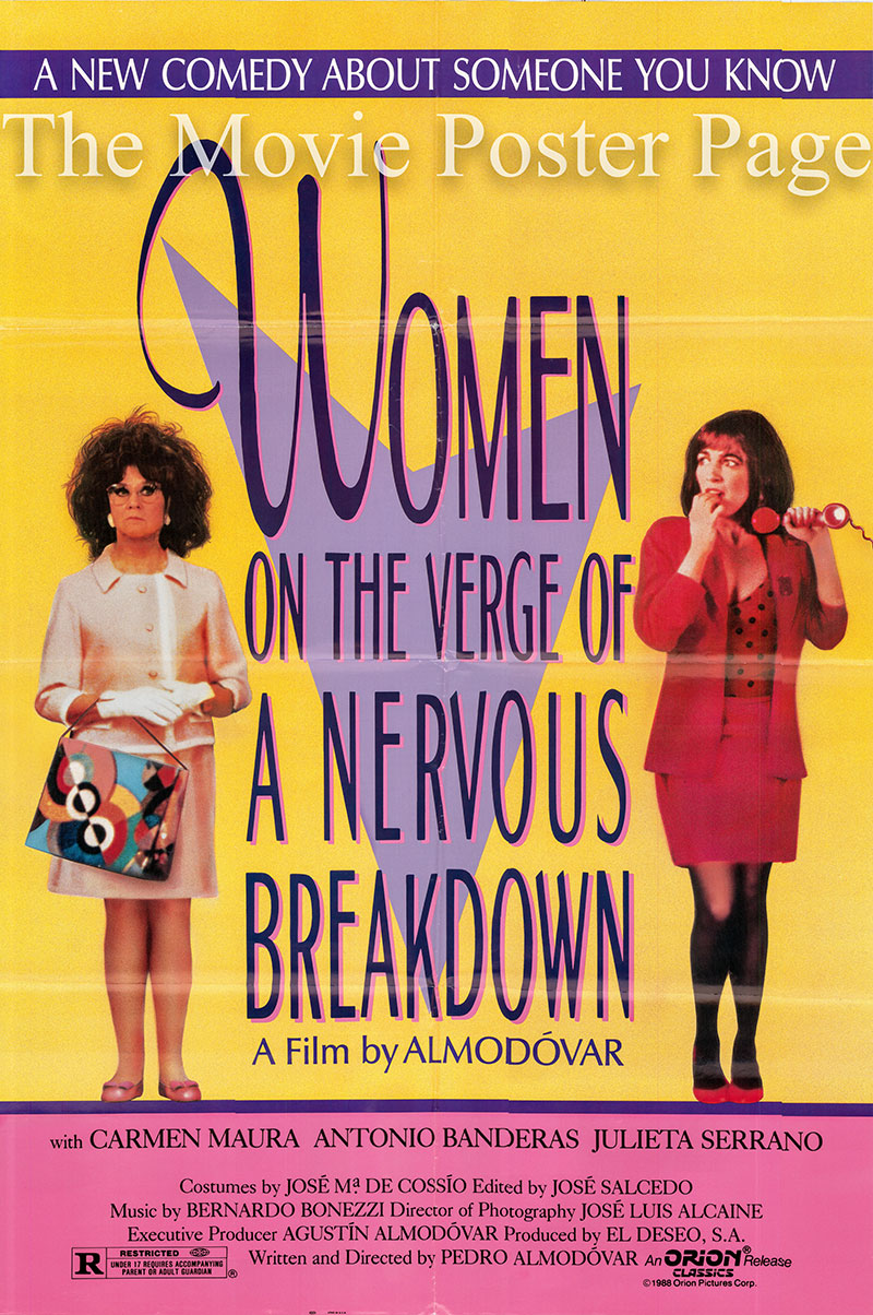 This is an image of a US one-sheet promotional poster for the 1988 Pedro Almodovar film Women on the Verge of a Nervous Breakdown, starring Carmen Maura.