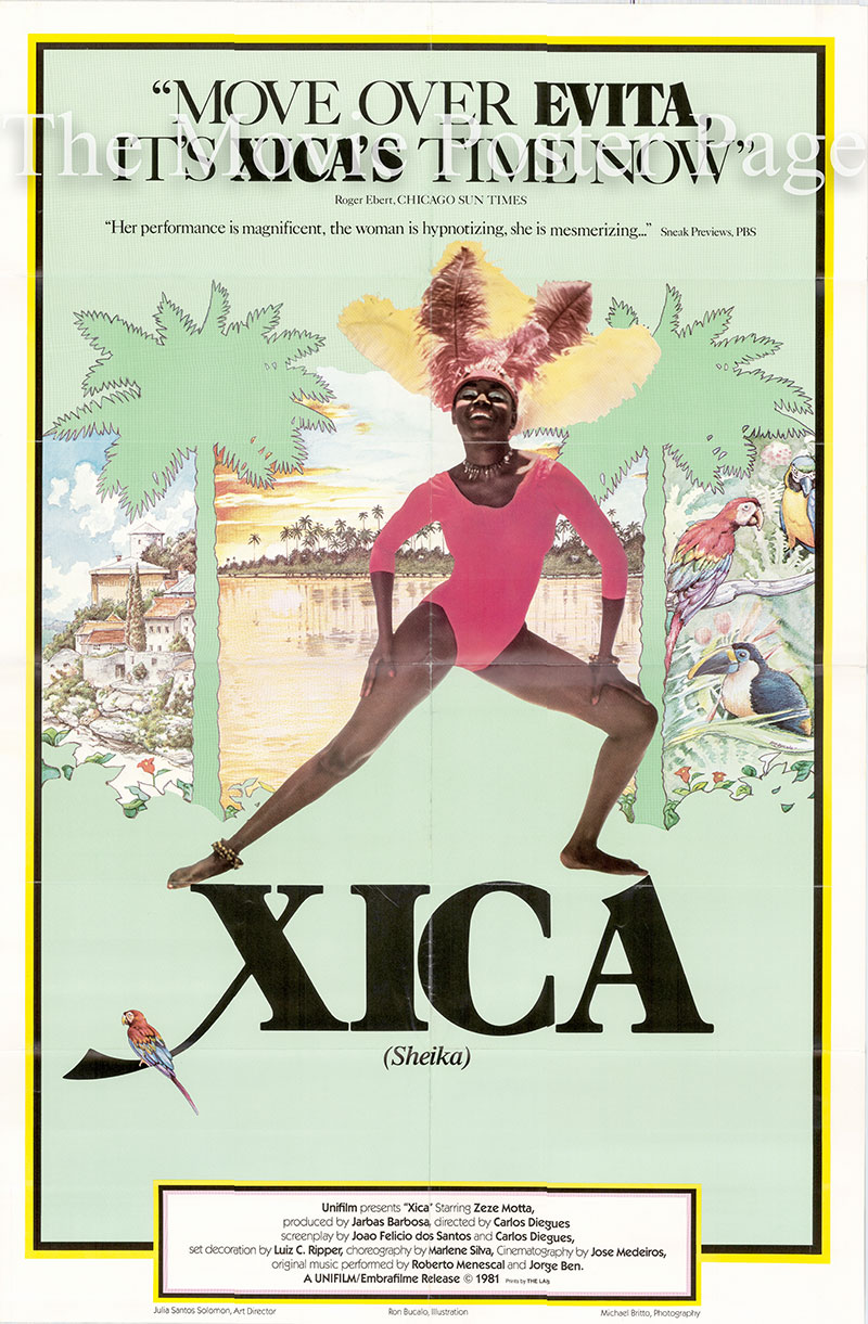 The image shows a promotional poster for the 1981 US release of the 1976 Carlos Diegues film Xica da Silva based on the 1976 Joaquim Felicio dos Santos novel <i>Memorias do Distrito Diamantino da Comarca do Serro</i> with screenplay by Antonio Callado and Carlos Diegues and starring Zeze Motta as Xica da Silva.