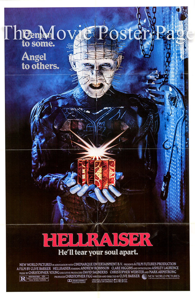 Pictured is a US one-sheet poster for the 1987 Clive Barker film Hellraiser starring Andrew Oliver Smith as Frank the Monster.