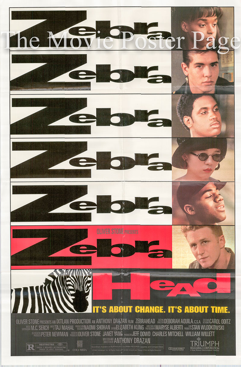 This image shows the US promotional one-sheet poster for the 1992 Anthony Drazan film Zebrahead, starring Michael Rapaport.