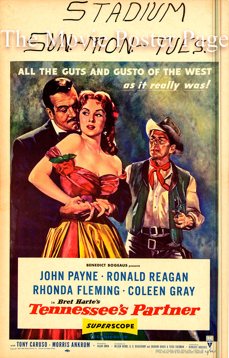 Pictured is the US window card for the 1955 Allan Dwan film Tennessee's Partner, starring Ronald Reagan and Rhonda Fleming.